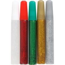 Glitterlim,  10 ml, ass. farger, 5stk.
