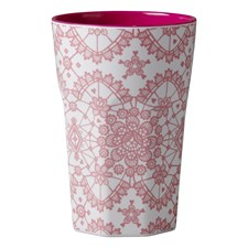 Rice Mugg Latte Melamin Coral Lace Print Fuchsia Inner