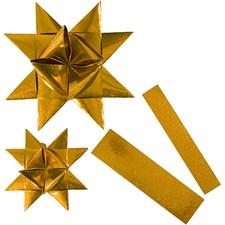 Stjernestrimler, B: 25+40 mm, dia. 11,5+18,5 cm, gull glitter, utendørs, 16strimler, L: 86+100 cm