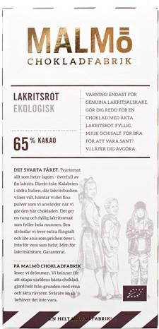 Malmö Chokladfabrik Tegelserien Choklad Lakritsrot 65% 80 g (14547)