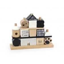 Label Label Stacking Blocks House Svart/vit