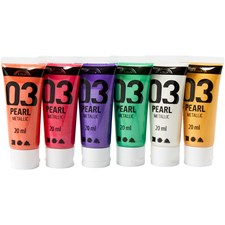A-Color akrylmaling, suppl. Farger, 03 - metallic, 6x20ml