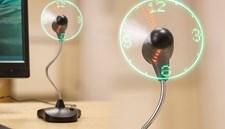 Skrivbordsfläkt USB Stående LED-Klocka
