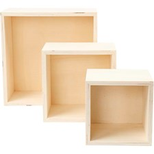 Oppbevaringskasser, kvadratisk, H: 11+14+20 cm, dybde 10 cm, kryssfiner, 3stk.