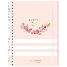 Burde Kalender 20-21 Life Planner, Pink, randig, A5