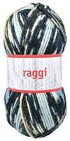 Raggi Blå/ Beige Glitter Print Ullmix 50g Grå (15133)