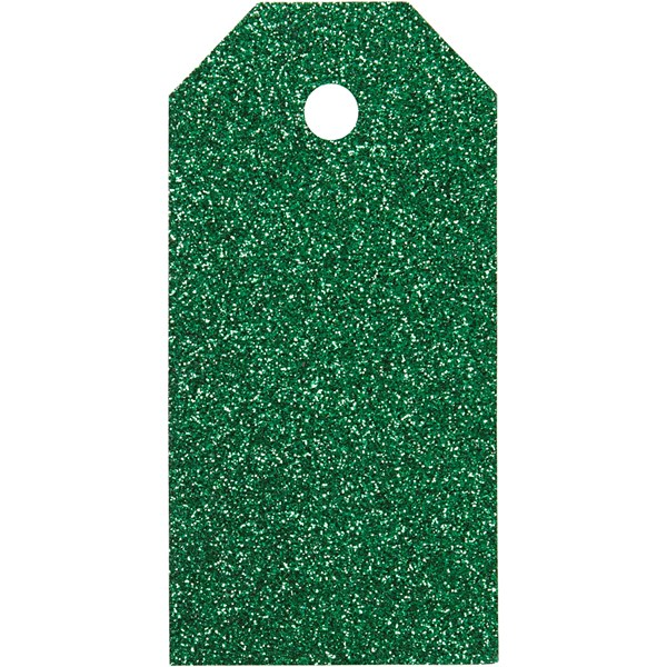 Pakettietiketit, koko 5x10 cm,  300 g, vihreä, kimalle, 15kpl