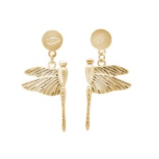 Ioaku Dragonfly Earrings Alloy Gold