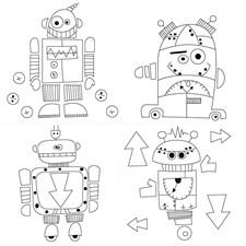 Painettu taulupohja, koko 15x15 cm, syvyys 1,4 cm, robotit, 4kpl