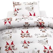 Borganäs of Sweden Frosty Christmas Påslakanset 100 % bomull Röd/Vit 150x210 cm + 50x60 cm