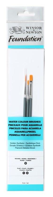 Penslar med Syntetborst för Akvarell & Akryl 3-pack Kort Skaft