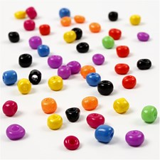 Rocaille siemenhelmet, koko 4/0 , halk. 5 mm, vahvat värit, 80g, aukon koko 1,2 mm