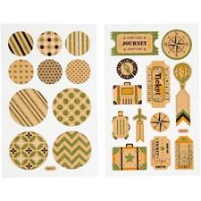 Stickers, ark 10x16 cm, koffertmerker og sirkler, 4ark