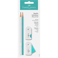 Sparkle Set blyant + viskelær + blyantkvesser, Hvit/turkis