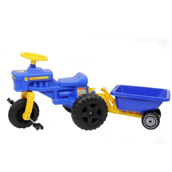 Tråtraktor med tilhenger, blå, Plasto
