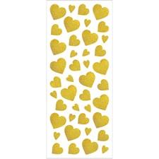 Glitterstickers, ark 10x24 cm, ca. 84 stk., gull, hjerter, 2ark