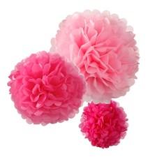 Pom Pom Rosa Hängande Dekoration 3-pack