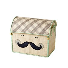 Toy Basket, Smiling Mustasch, Small, Beige, Rice