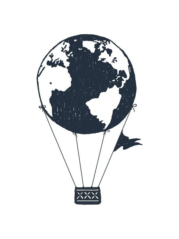 Earth air ballon Poster A4