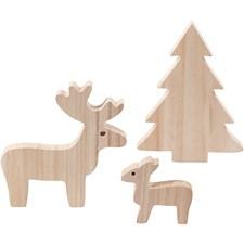 Hjort og grantre, H: 6+12+15 cm, dybde 1,5 cm, keisertre, 1sett