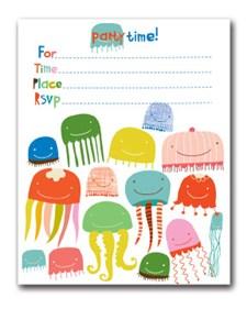 Inbjudningskort med Kuvert 10,5x13 cm Jellyfish 12 Par
