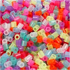 Rørperler, str. 5x5 mm, hullstr. 2,5 mm, 6000 ass., glitter farver