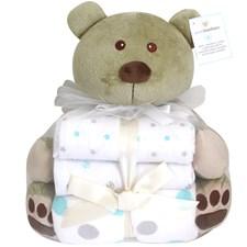 Pehmoeläin Karhu + 3-pack huopa (2 flanelli ja 1 fleece), Piccolo Bambino