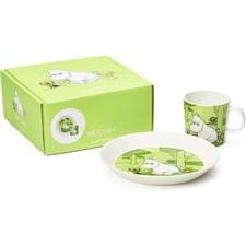 Arabia Mumin Tallrik & Mugg Set Mumintrollet Grön