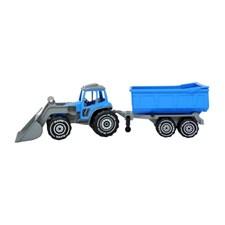 Kauhatraktori (sininen) perävaunulla, Plasto