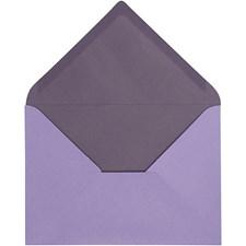 Kuvert, stl. 11,5x16 cm, 100 g, 10 st., mörklila/lila