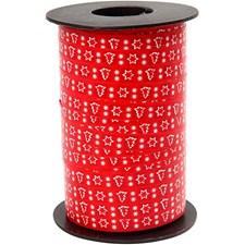 Mønstret gavebånd, B: 10 mm, rød med juletre, 250m