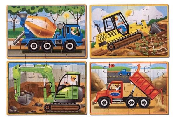 Arbeidskjøretøy, 4 puslespill i eske, Melissa & Doug