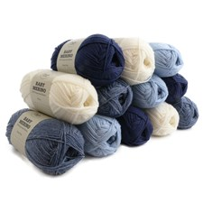 Adlibris Baby Merino Ull Garn 50g Blue & White 12-pack