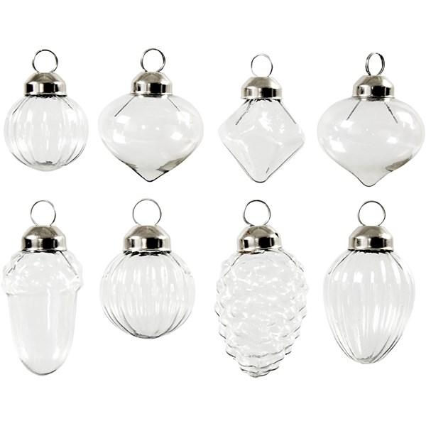 Glass kuler, dia. 2,8-3 cm, H: 3,5+5,1 cm, transparent, 8stk.
