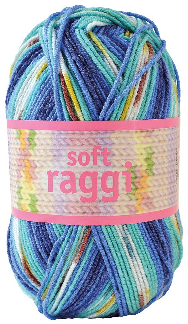 Soft Raggi 100g Turkos/Blå print (31208)