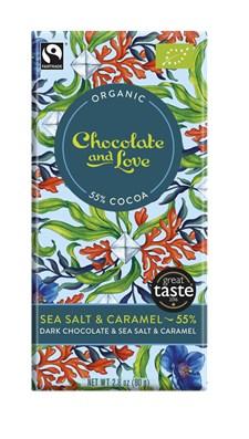 Chocolate and Love Mörk Choklad Karamell & Havssalt 55% 80 g Ekologisk