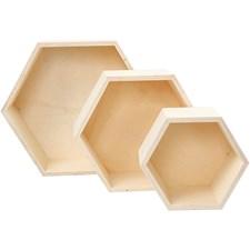 Förvaringslådor av Plywood 3 Storlekar