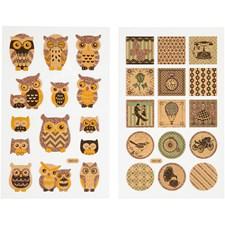 Kimalletarrat, arkki 10x16 cm, pöllöt ja nostalgia, 4ark