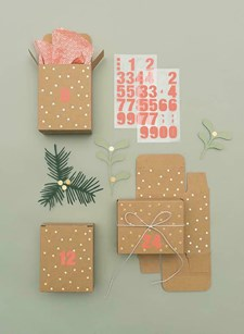 Adventskalender box kraftpapper & Guld 24-pack
