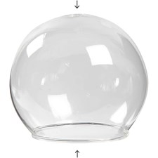 Kuleformet glassklokke, dia. 8 cm, hullstr. 5 cm, transparent, 4stk.