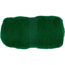 Kardet ull, grønn, 100g